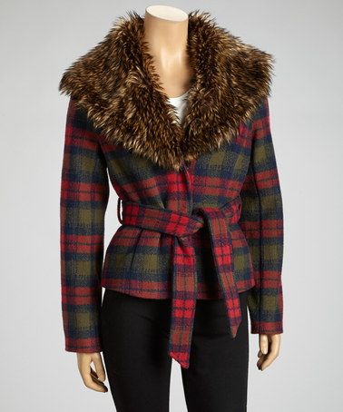 Take a look at this Red Plaid Faux Fur Sash-Tie Jacket by Up Country on #zulily today!