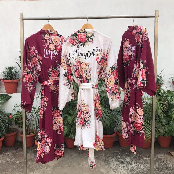 957d08d2f48 Floral robe, custom, Bridesmaids, maid of honor, spa robe, beach cover up,  dressing up robe, burgund