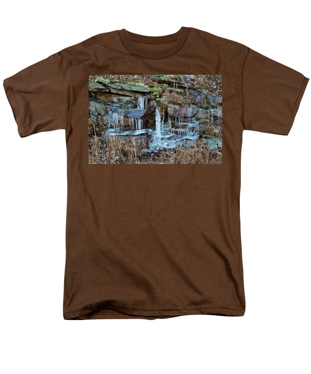 Winter Photography Men's T-Shirt (Regular Fit) featuring the photograph Icicles by Cynthia Guinn