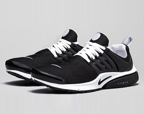 nike presto cheap black and white shoes