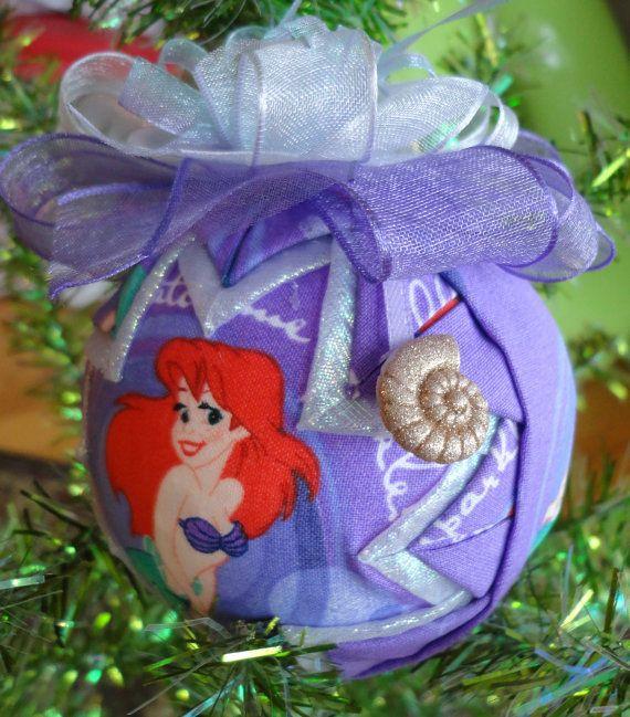 disneys little mermaid ariel quilted christmas ornament 1500 via etsy - Little Mermaid Christmas Ornaments