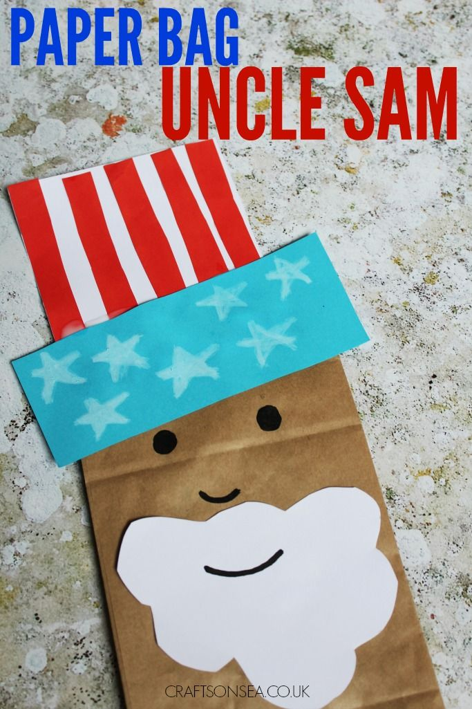 Paper Bag Uncle Sam Kids Craft Daycare Work July Crafts