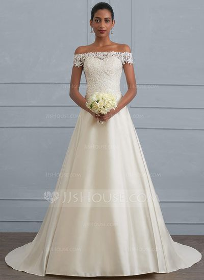 Ball-Gown Off-the-Shoulder Sweep Train Satin Wedding Dress ...