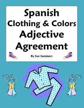 Spanish Clothing & Colors Worksheet Noun and Adjective