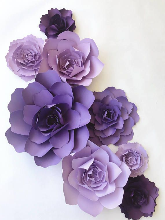 Purple Paper Flower Nursery Decor Girls Room Wall Art Purple Hanging Paper Flowers Paper Flower Nursery Purple Nursery Decor