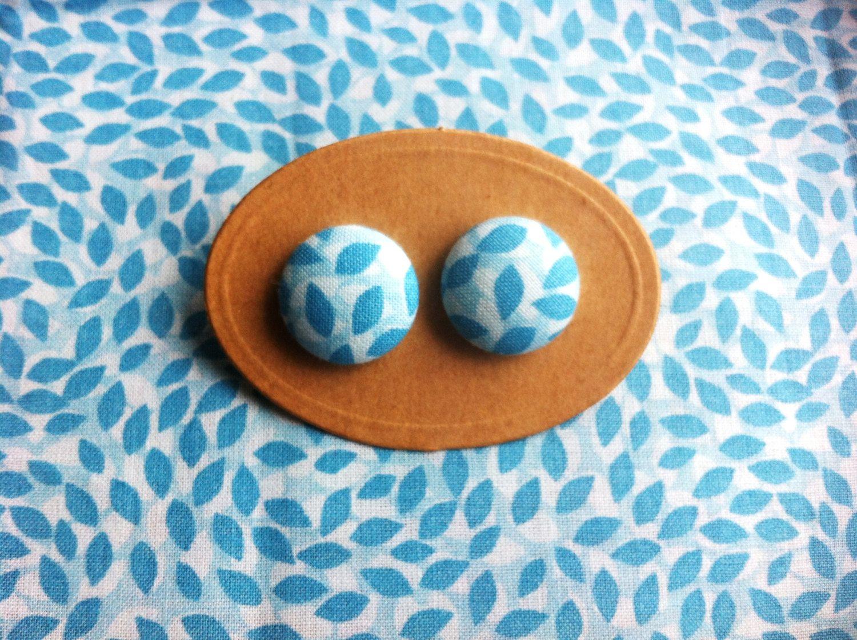 Leaf Blue Fabric Earring Studs by somefriendlyfolk on Etsy