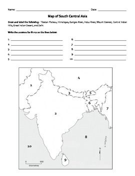 students will label the countries of south central asia students will also label land forms