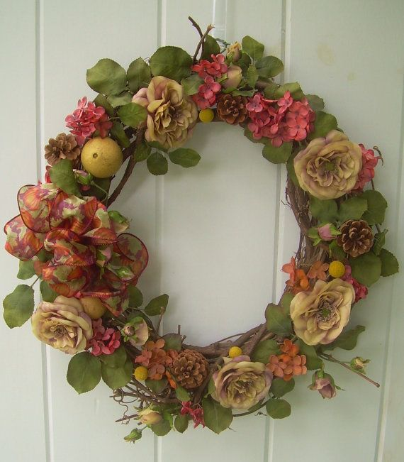 fall woodsey grapevine wreathrust hydrangea by DoorDecorShop