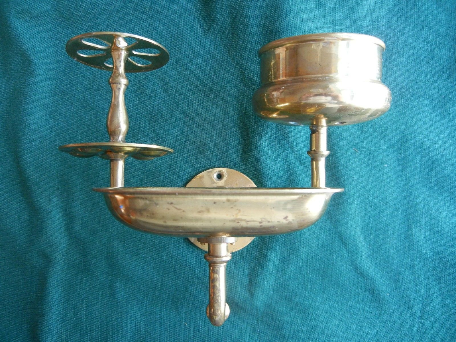 Vintage Victorian Brass Bathroom Fixture Soap Dish Toothbrush Cup ...