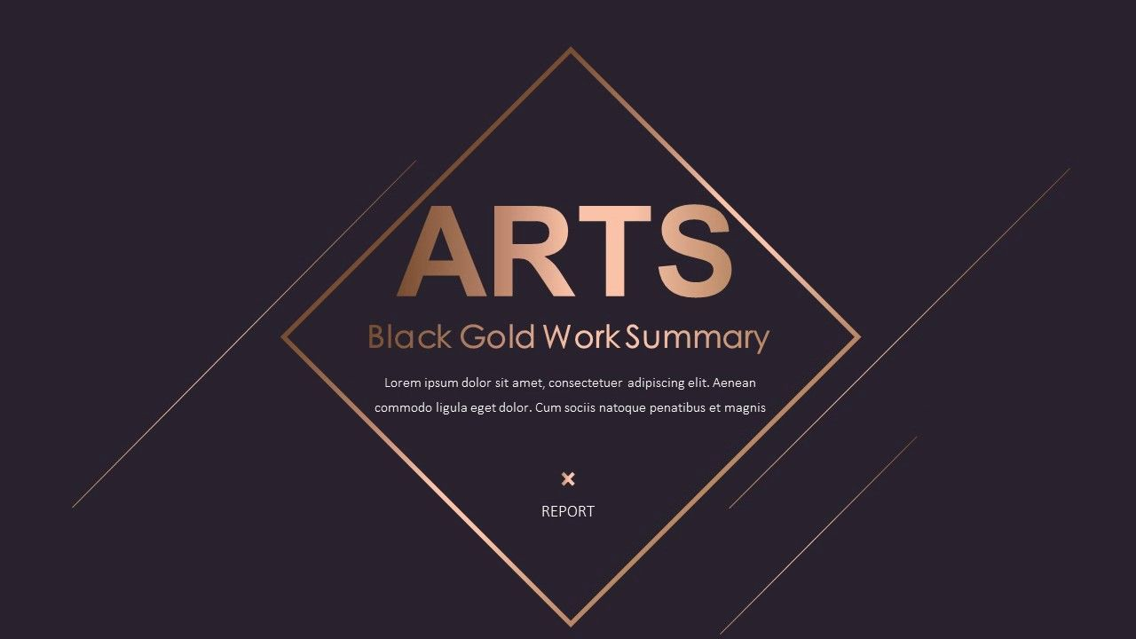 Gold Black Work Report Powerpoint Template Powerpoint