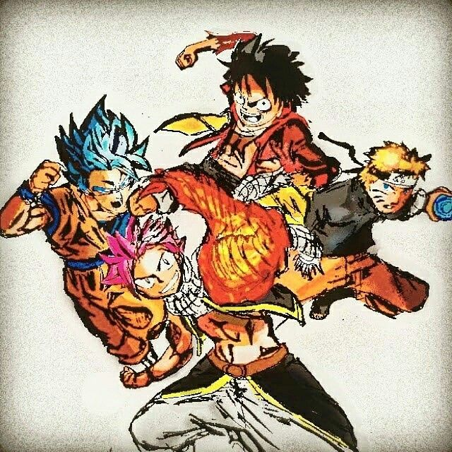 Natsu Goku Naruto and Luffy  Drawings  Pinterest  Draw