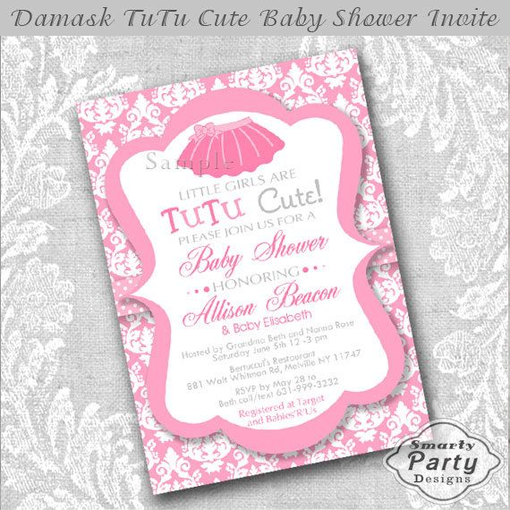 Ballerina Pink TuTu Baby Shower Invitations by SmartyPartyDesigns