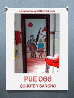 Creaciones mayola quijote y sancho d a del libro migue for Puertas decoradas dia del libro
