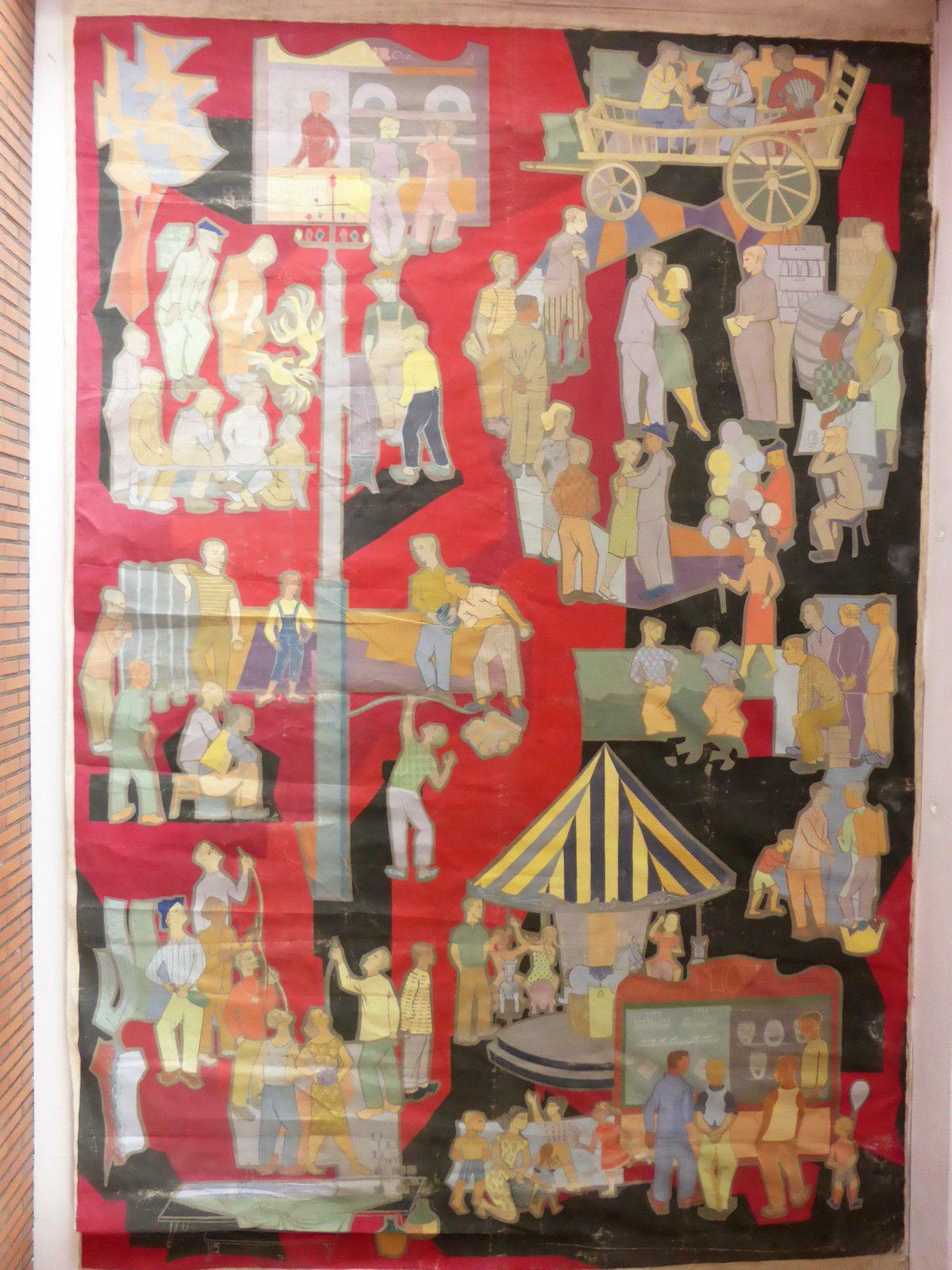 Fresque toile 4.80 x 3.15m KERMESSE FÊTE FORAINE (école d') Ernest D'Hossche ?   eBay