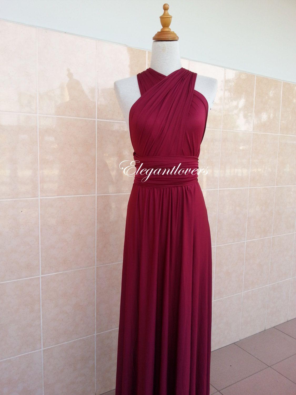 Red wine merlot burgundy maroon bridesmaid dress infinity dress wrap