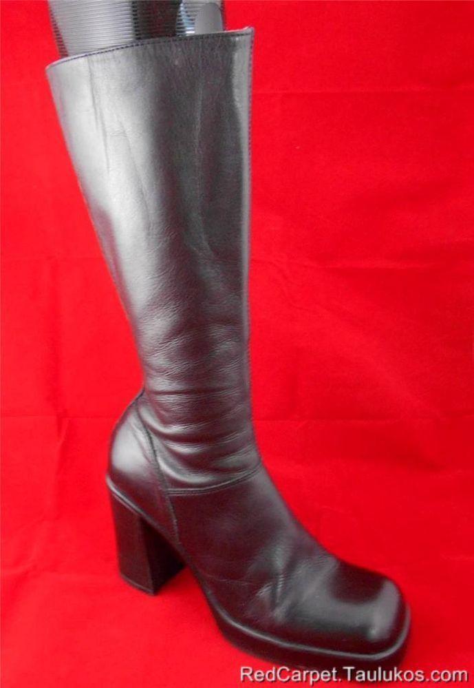 f60596b301d  275 Womens shoe Vintage STEVE MADDEN Lusst Black LEATHER Chunky High Heel  8.5 M  SteveMadden