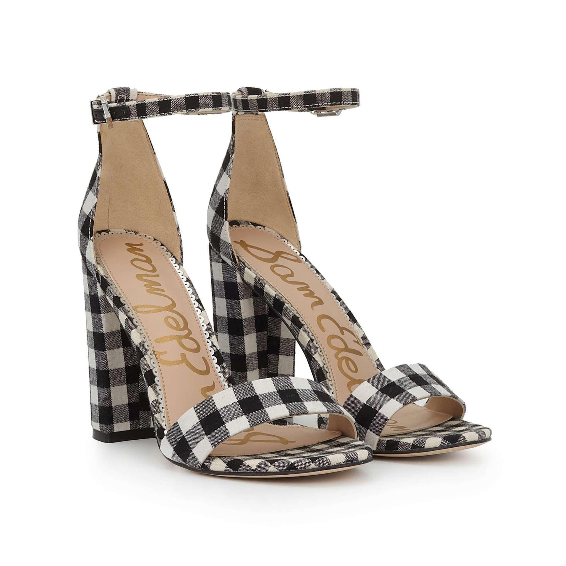 26dbe405f2f Yaro Block Heel Sandal by Sam Edelman - Black White Gingham - View 1 ...