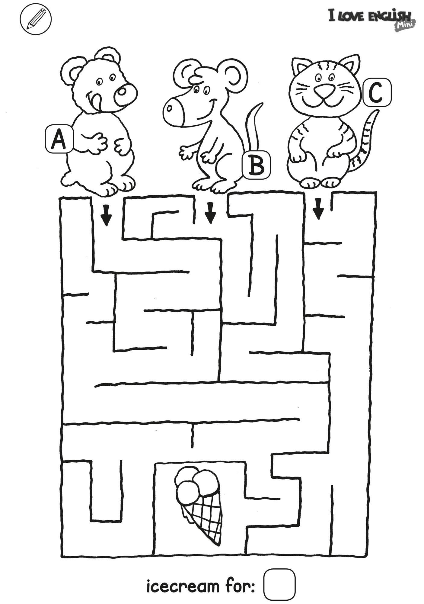 Ausmalbild Labyrinthe Fur Kinder I Love English Mini Labyrinth Eis Kostenlo In 2020 Labyrinthe Fur Kinder Kinderratsel Zum Ausdrucken Arbeitsblatter Zum Ausdrucken