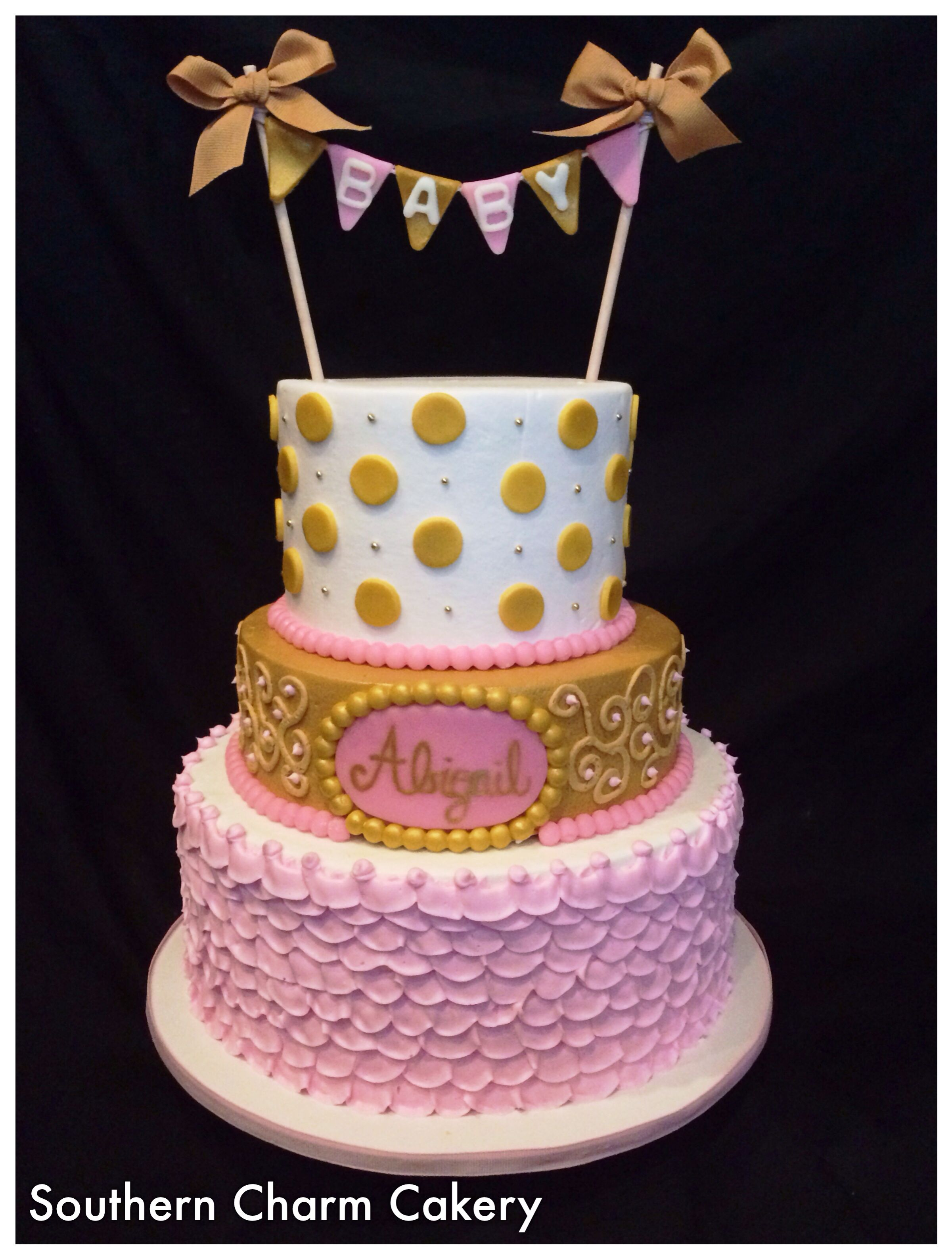 girl baby shower cake pink and gold southern charm cakery