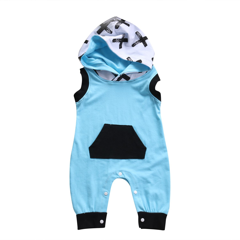 Newborn Baby Boy Girl Romper Sleeveless Hooded Jumpsuit Playsuit