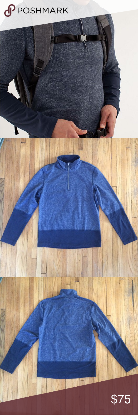 Lululemon Quarter Zip Pullover Lululemon navy blue herringbone colorblock men's pullover. This is in great used condition. Rip tag is gone. Fits like a men's small, but I'll put the measurements up soon. Make me an offer. Discount on bundles of two or more. lululemon athletica Jackets & Coats Performance Jackets