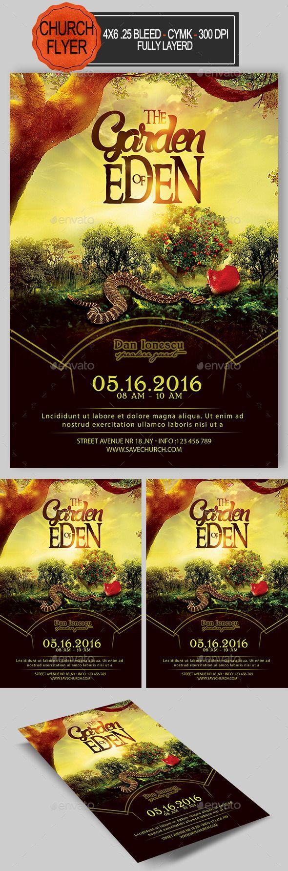 The Garden Of Eden Church Flyer — Photoshop PSD #the garden of eden ...