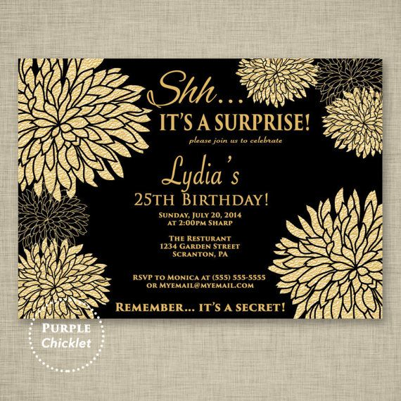 25th Birthday Invitation Surprise Birthday Party Celebration Invite