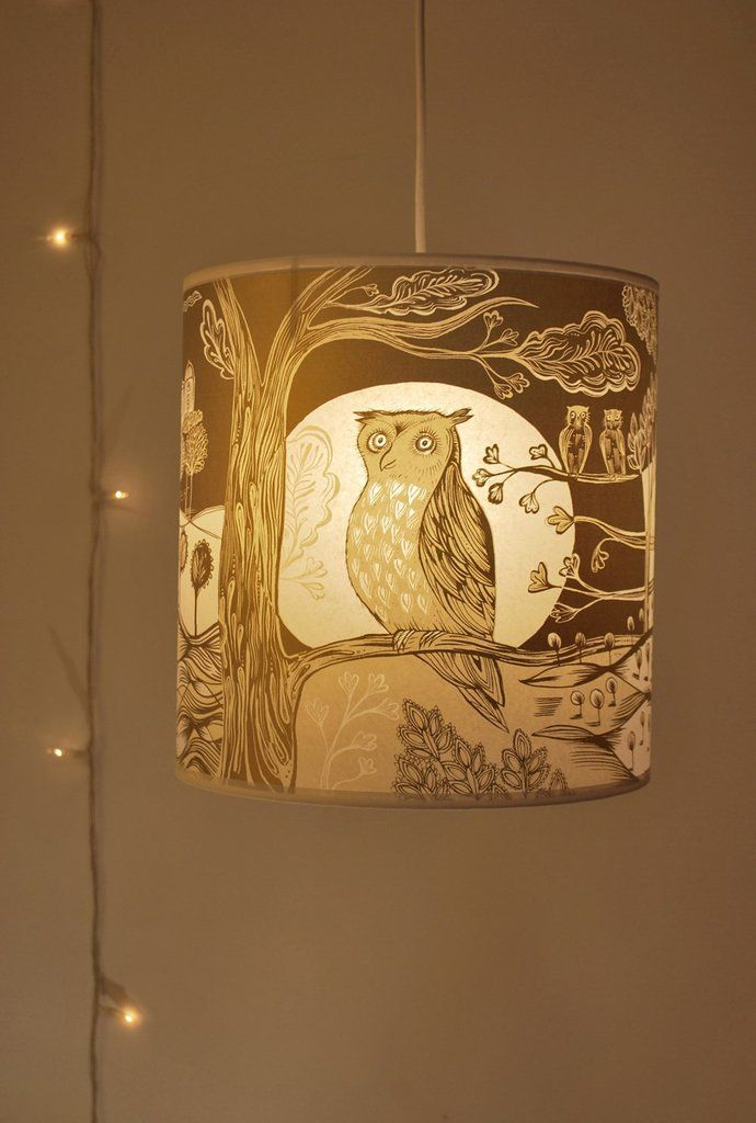 Gold cream owl lampshade by lush designs radiance uk