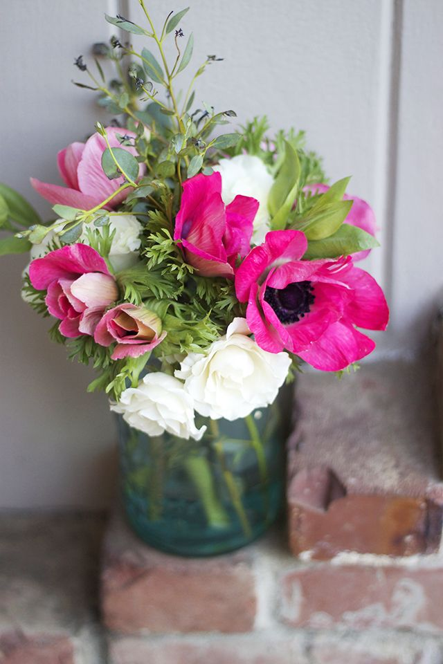 anemones and spray roses