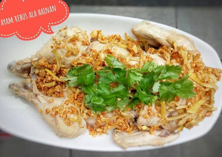 Resep Hainan Chicken Phak Cam Kee Ayam Rebus Ala Hakka Oleh Finny Puspitasari Muwarman Resep Makanan Ayam Resep Ayam Daun Ketumbar