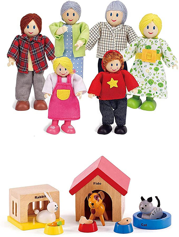 "Hape Happy Family Dollhouse with Pet Set Award Winning Doll Family Set Unique Accessory for Kid's Wooden Dolls House Imaginative Play Toy 6 Family Figures Adults 4 3"" and Kids 3 5"""
