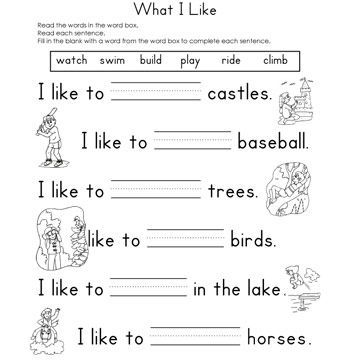 Fill In The Blank Worksheets Education Pinterest Sentences