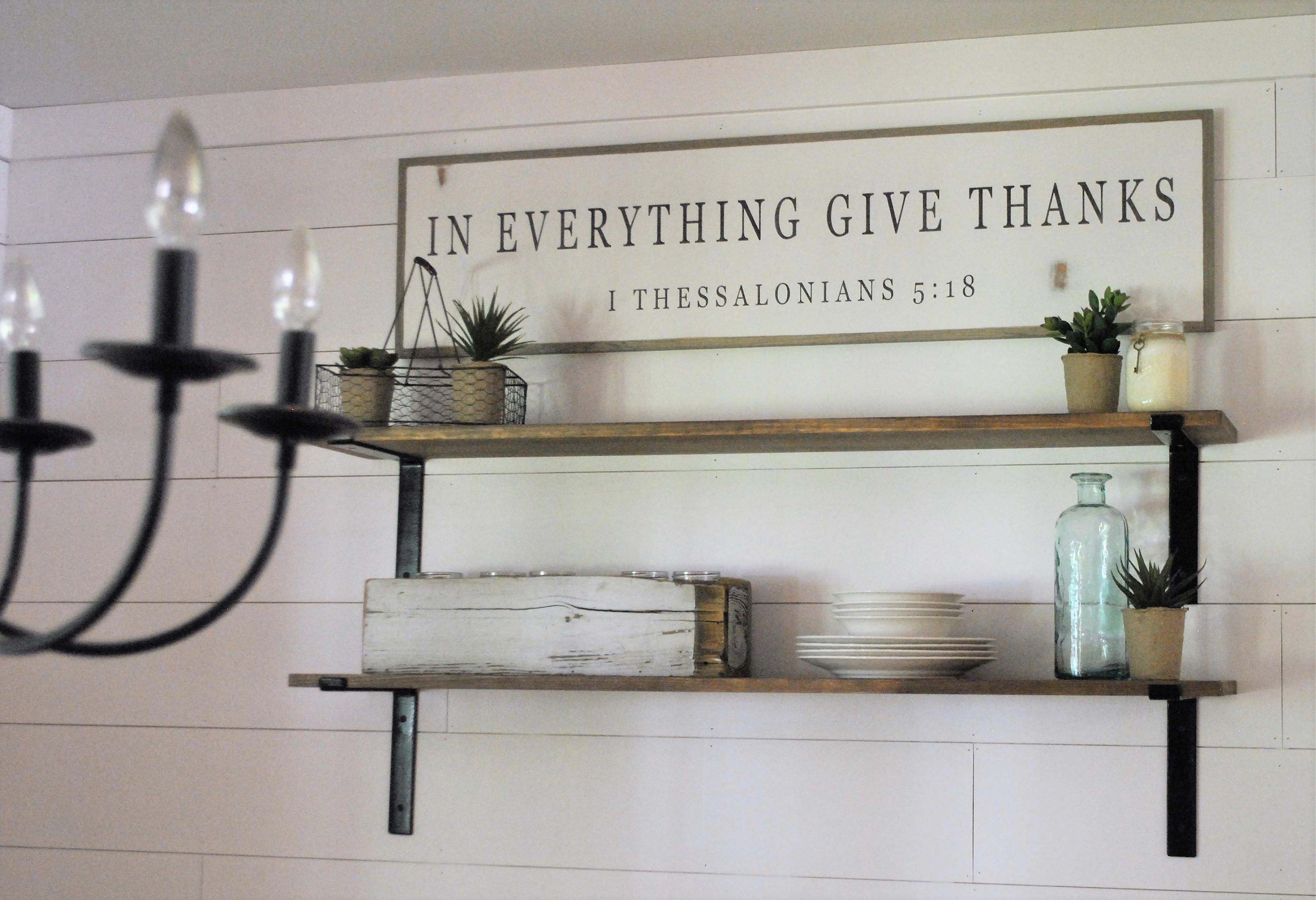 In everything give thanks uxu sign distressed shabby chic wooden