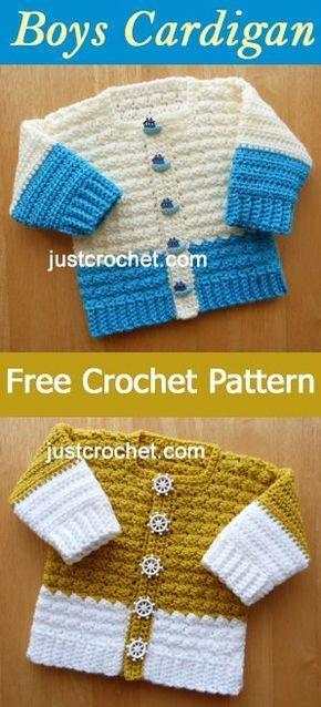 Baby Boys Cardigan   free crochet pattern   #crochet   crochet ...