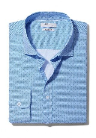 Рубашка Mango Man, цвет: голубой. Артикул: HE002EMDZN06