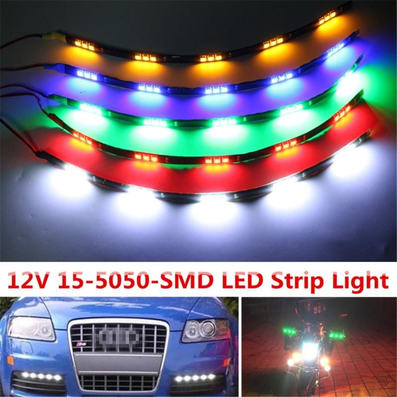Led Strip Lights For Cars 30Cm 15 Led Daytime Running Lights Dc 12V 5050 Waterproof Auto Car