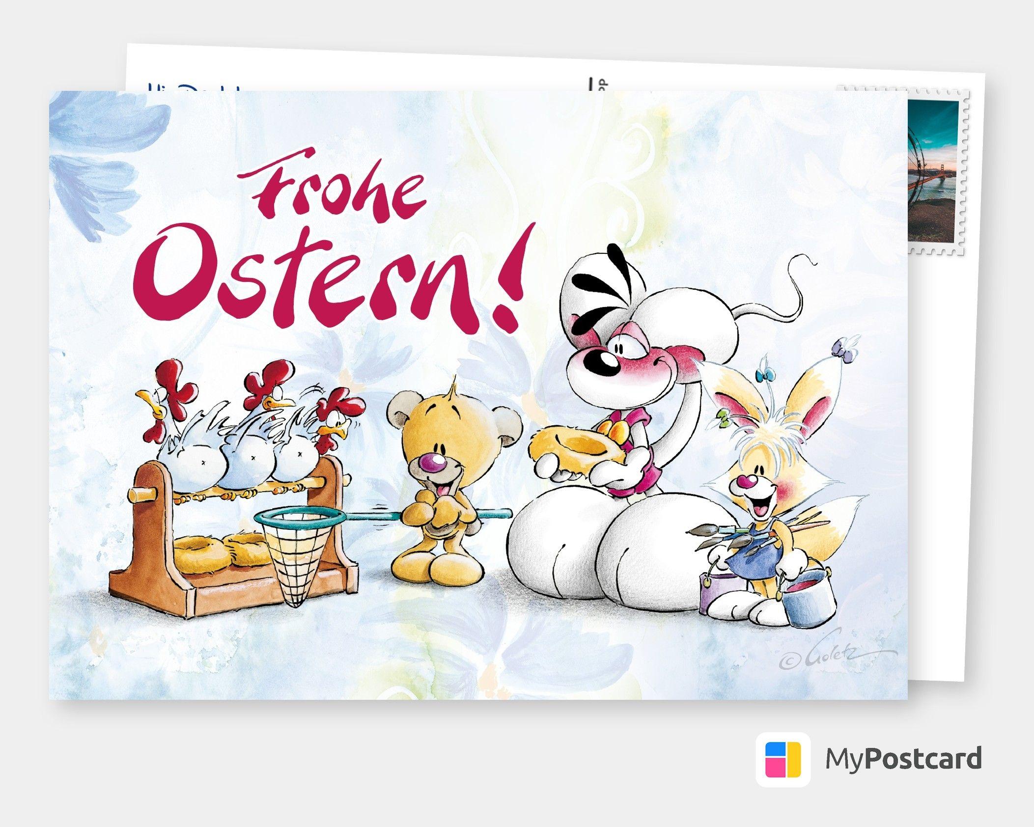 Frohe Ostern Comic Cartoons Echte Postkarten Online