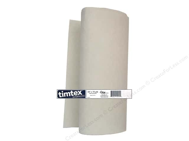 C&T Timtex Interfacing is a firm, yet flexible interfacing that will stabilize sewing and craft projects. Easy to cut, mark, and sew. Steam press to restore or set shape, machine wash and dry. Great for fabric boxes, purse and tote sides and bottoms, hat brims, book covers, costumes, and other 3D projects. 100% Polyester. 20 inch x 10 yard.