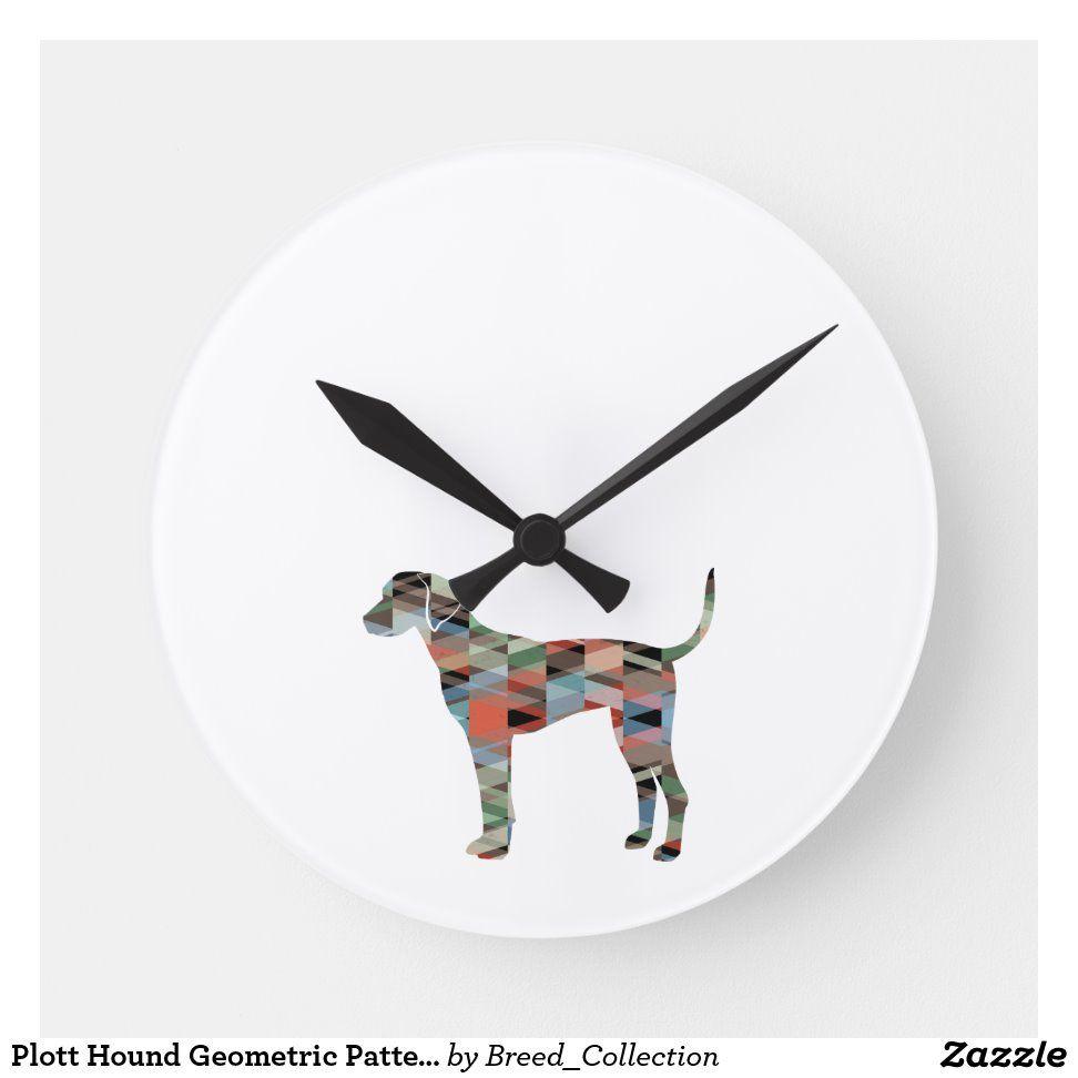 Plott Hound Geometric Pattern Silhouette Plaid Round Clock | Zazzle.com