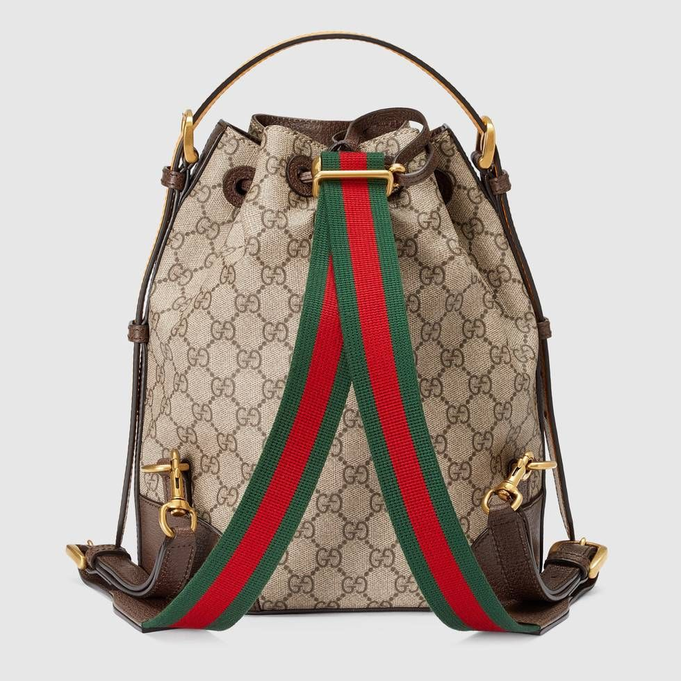 3a98c2fad68 Shop the GG Supreme backpack by Gucci. A drawstring backpack with a bucket  shape made in soft GG Supreme