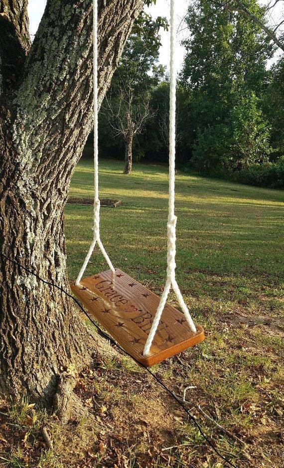 Wood Tree Swing Solid Oak Personalized Seat Wedding Couples Oldschool Wood Tree Swing Tree Swing Wood Tree