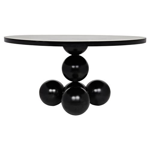 Pedestal Dining Table, Round Black High Gloss Dining Table