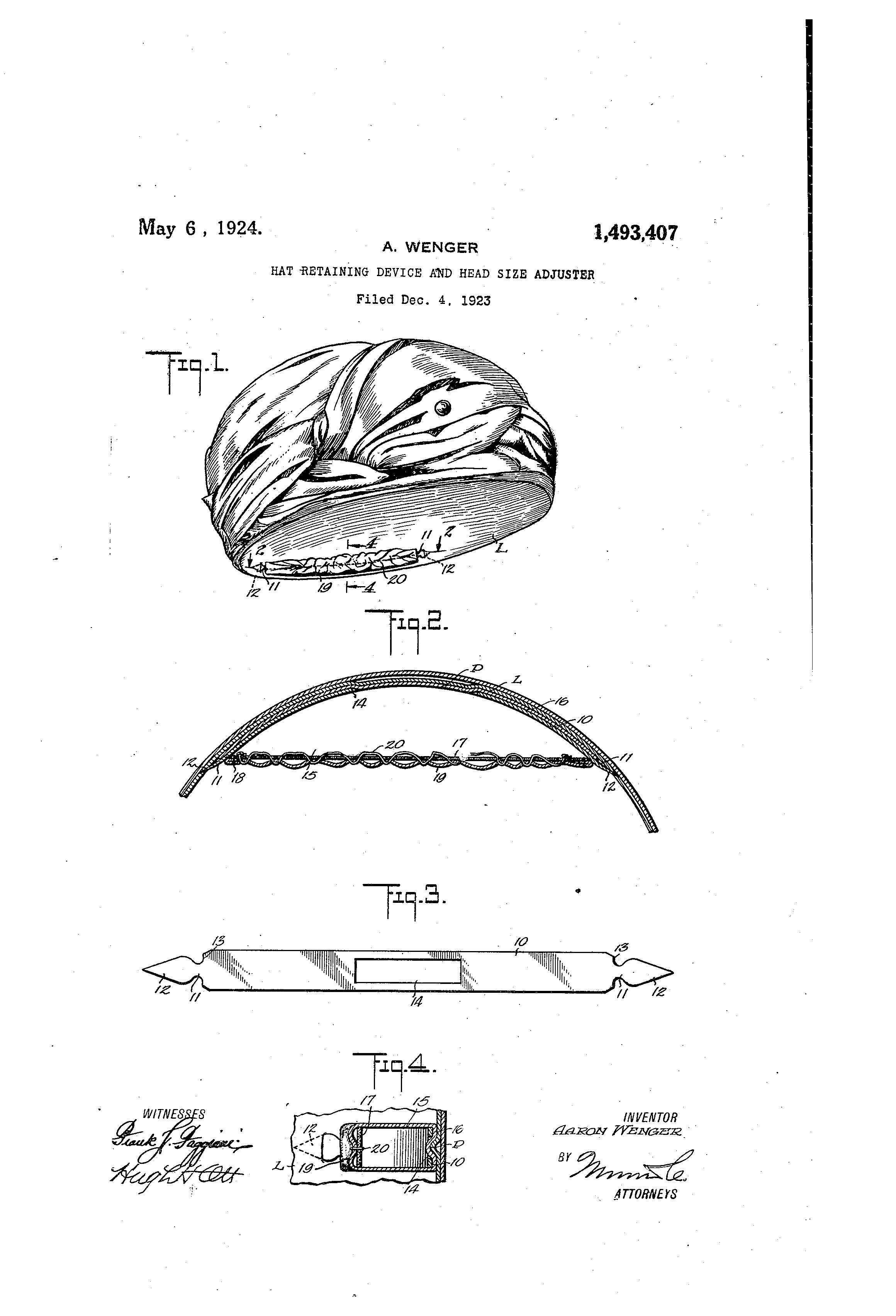 Patent US1493407 Hatretaining device and headsize