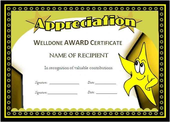 award templates for students – Printable Certificate of Recognition