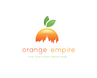 BRAND NAME: O R A N G E    E M P I R E   Description: the skyline representing the empire and the orange color and leaf representing an orange. pretty cool huh.