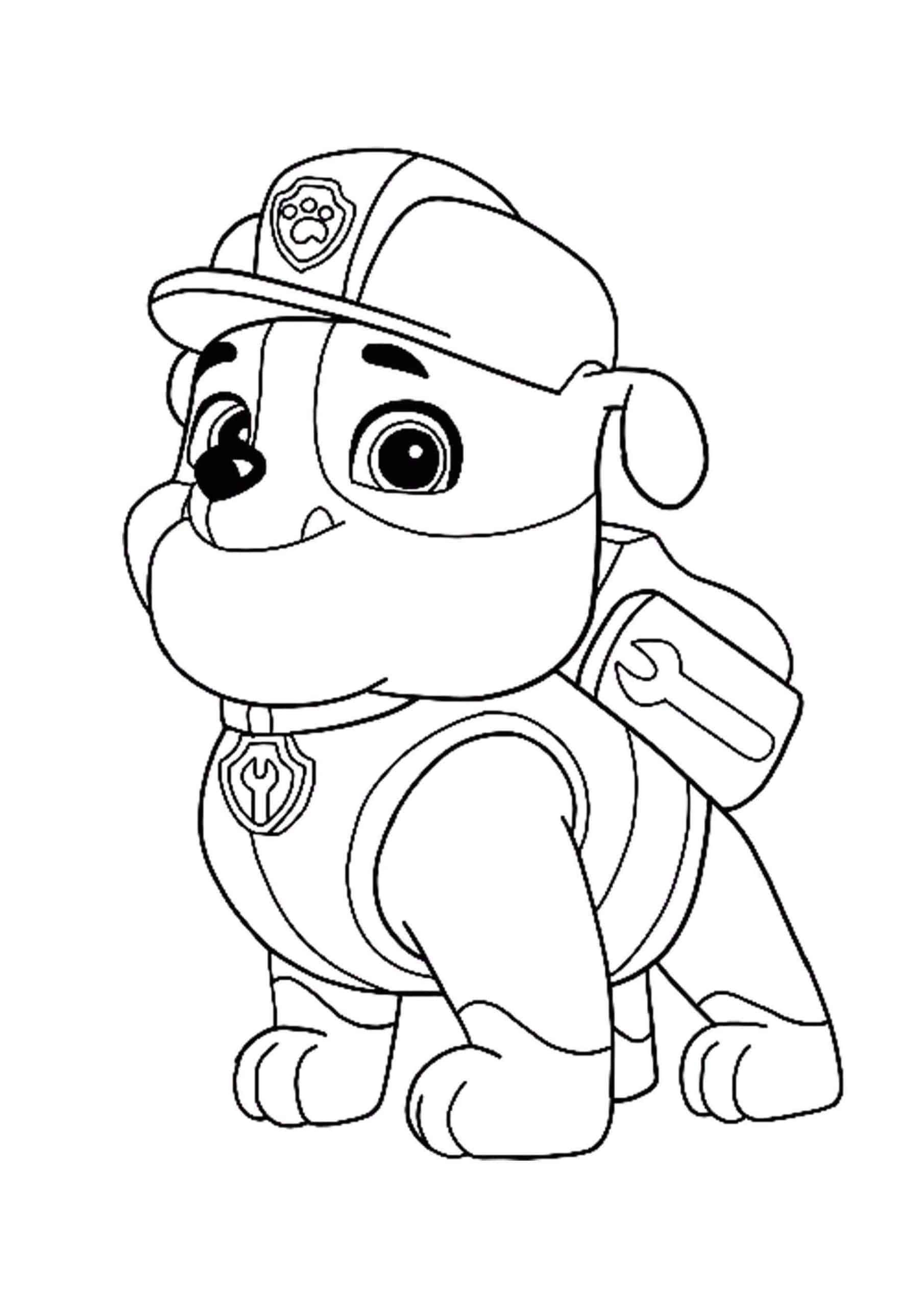 Paw Patrol Rubble coloring page | Paw patrol coloring ...