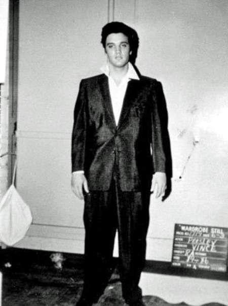 Elvis wardrobe test on the movie set of Jailhouse rock in june 3 1957.