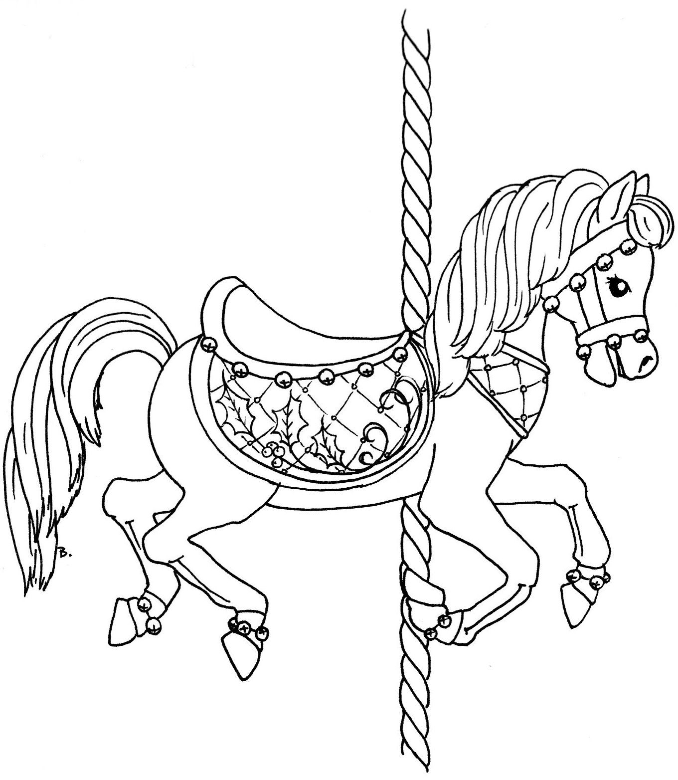 Coloring Books Christmas Carousel Horse