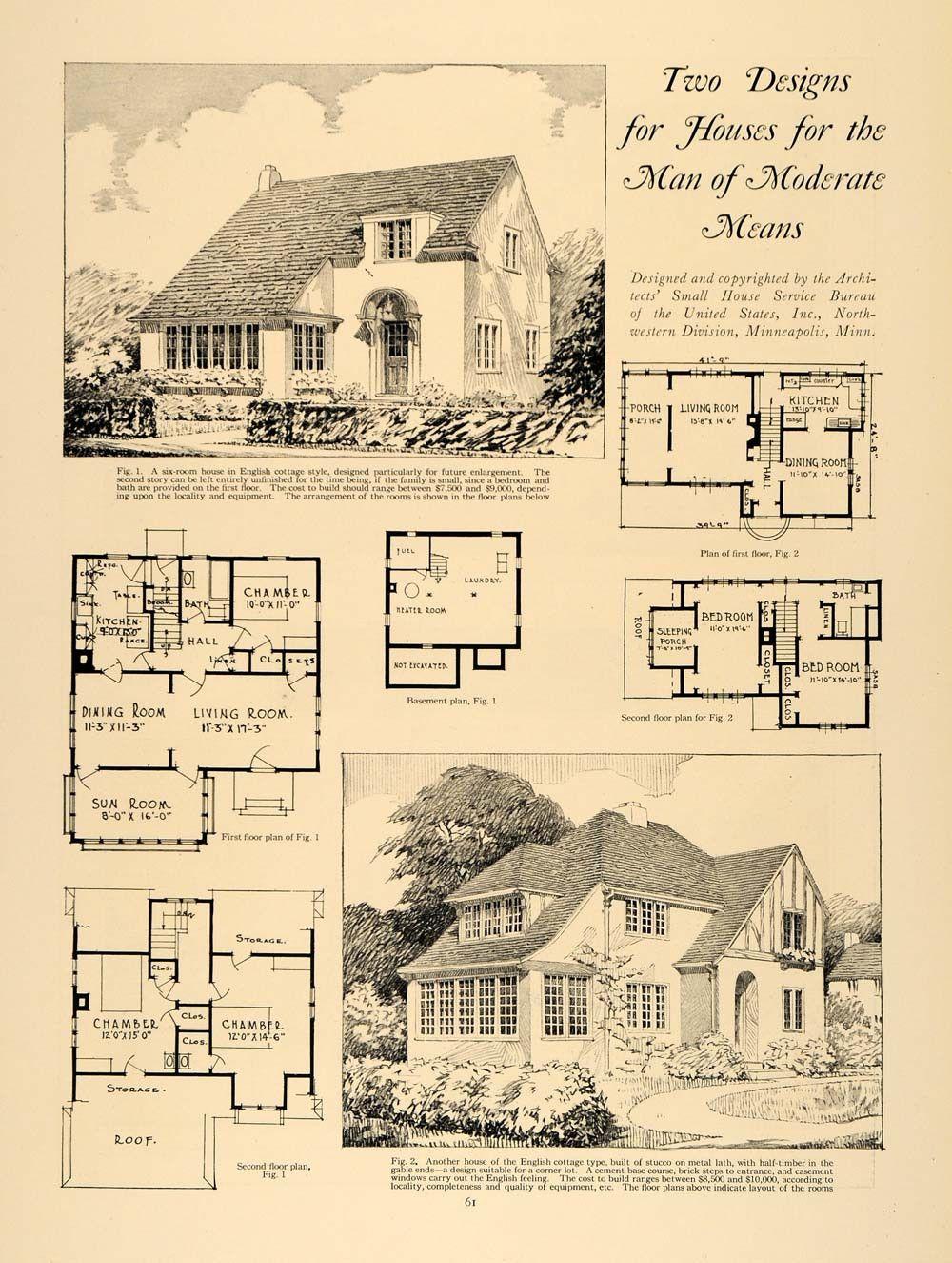1924 Print Home Design Living Room Dining Sun Architect Original Histo Home Design Living Room House Design Vintage House Plans