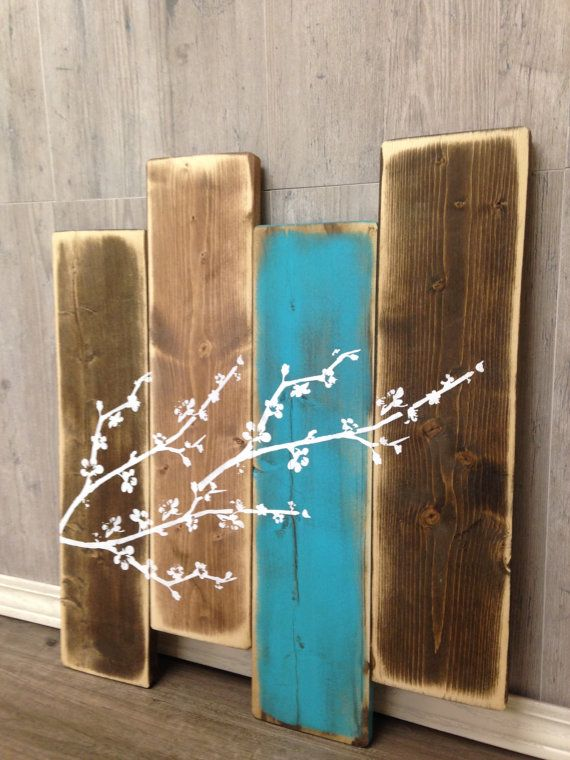 Photo of Wood Wall Decor | Cherry Blossom | Wall Decor | Staggered Sign | Master Bathroom Decor | Home Decor | Home | Modern Farmhouse